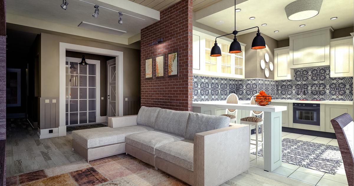 nowoczesny salon z kuchni� � eklektyczne wnętrze